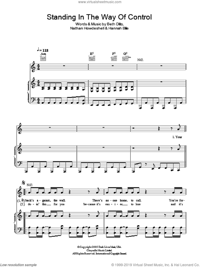 Standing In The Way Of Control sheet music for voice, piano or guitar by Nathan Howdeshell and Beth Ditto. Score Image Preview.