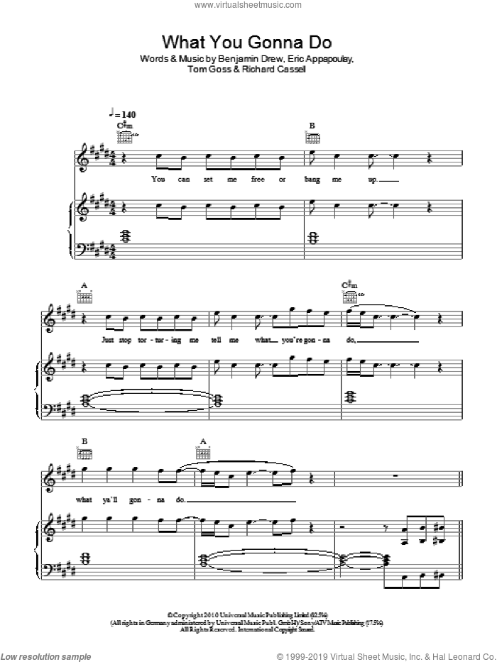 What You Gonna Do sheet music for voice, piano or guitar by Tom Goss