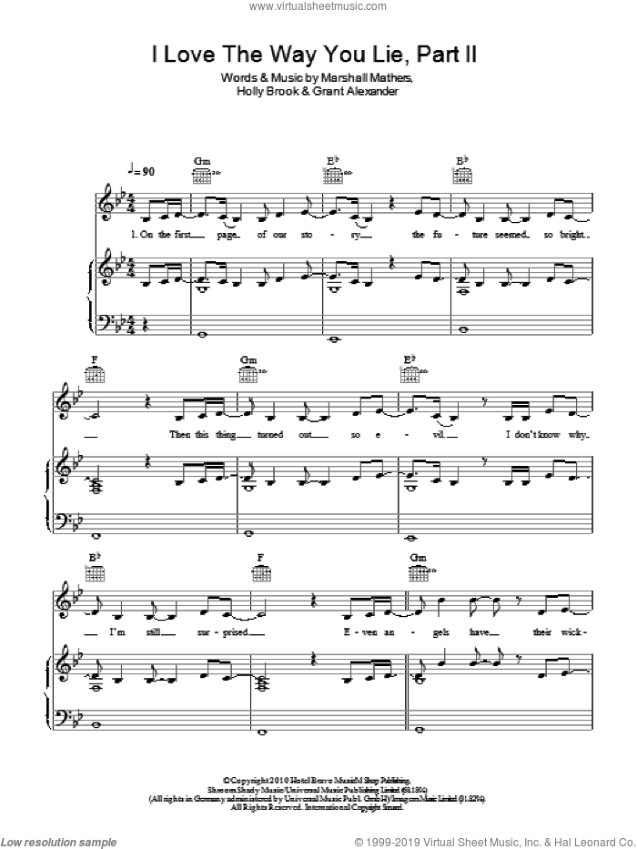 Love The Way You Lie, Pt. 2 sheet music for voice, piano or guitar by Marshall Mathers. Score Image Preview.