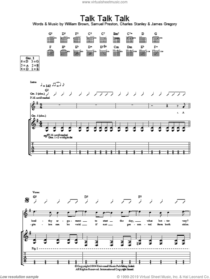 Talk Talk Talk sheet music for guitar (tablature) by William Brown and The Ordinary Boys. Score Image Preview.