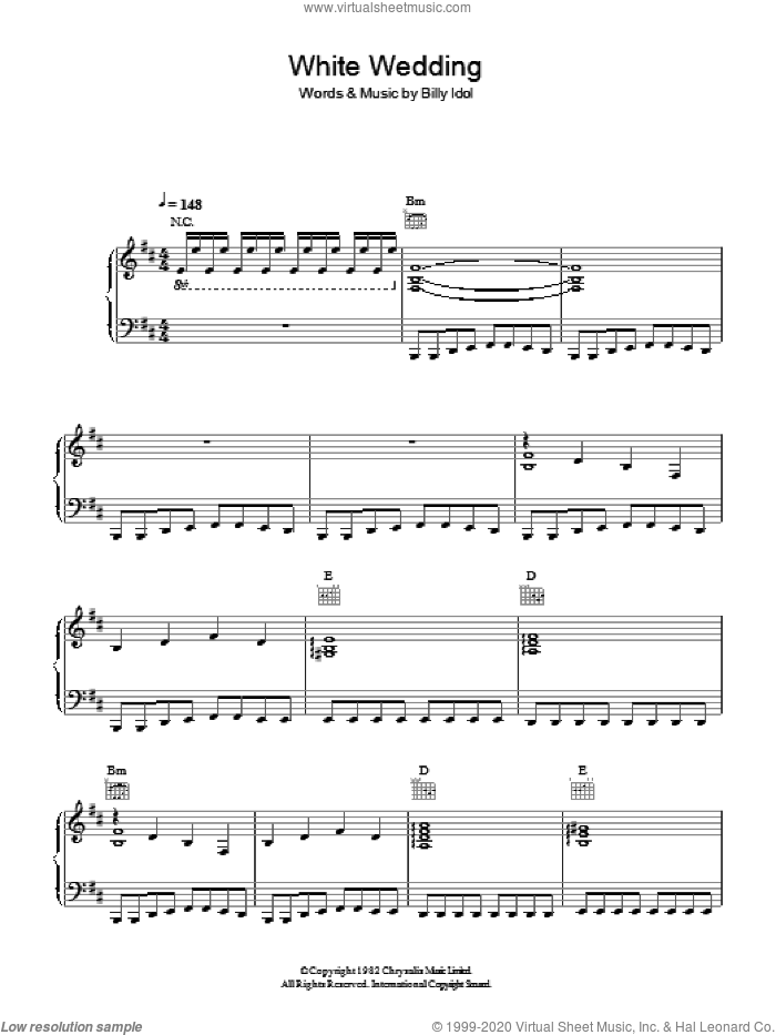White Wedding sheet music for voice, piano or guitar by Billy Idol, intermediate skill level