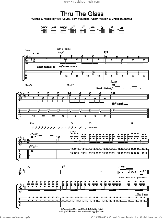 Thru The Glass sheet music for guitar (tablature) by Thirteen Senses. Score Image Preview.