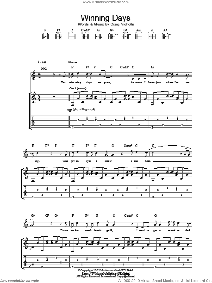 Winning Days sheet music for guitar (tablature) by Craig Nicholls and The Vines. Score Image Preview.
