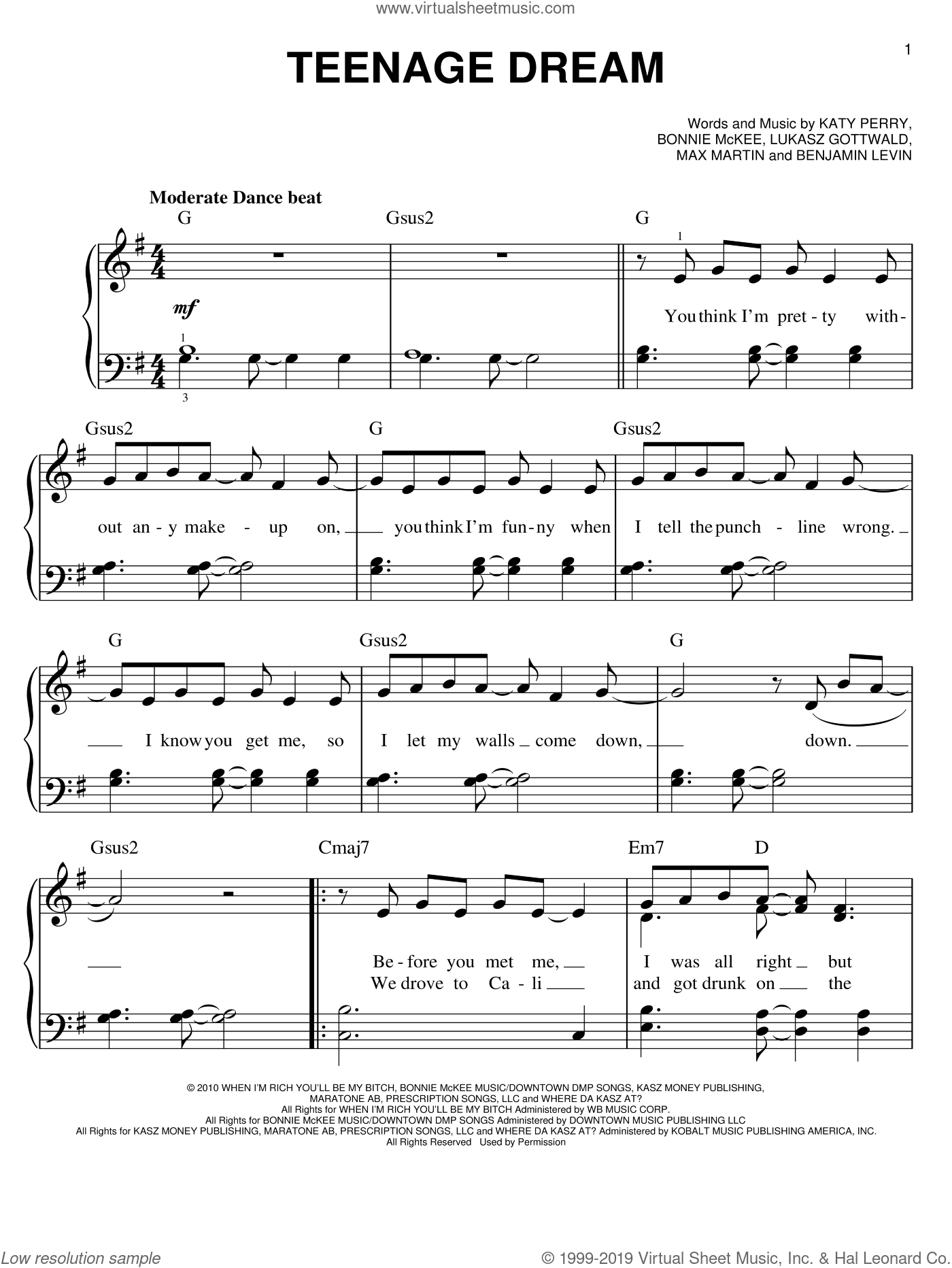 Teenage Dream sheet music for piano solo by Glee Cast, Miscellaneous, Benjamin Levin, Bonnie McKee, Katy Perry, Lukasz Gottwald and Max Martin, easy skill level
