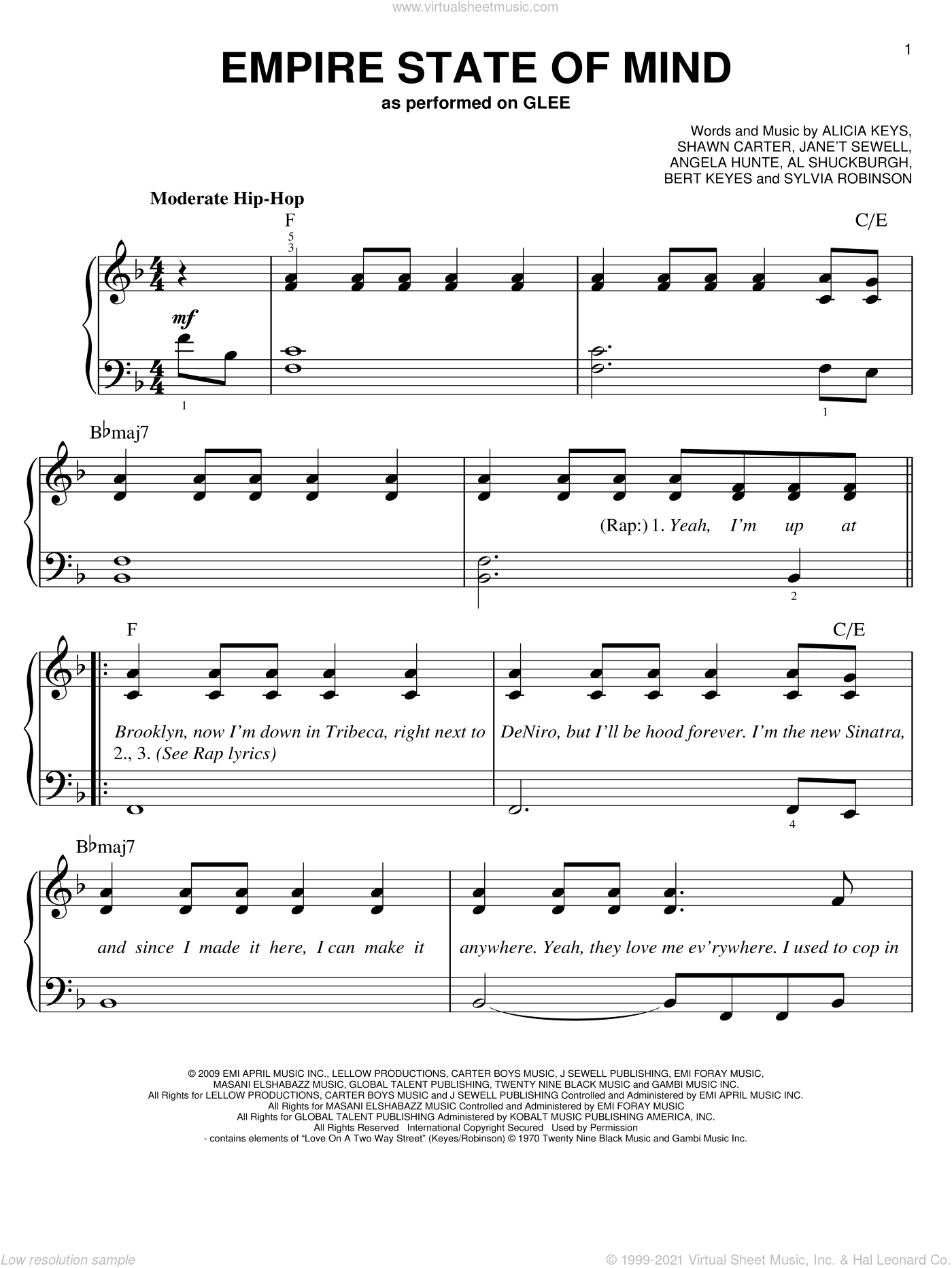 Empire State Of Mind sheet music for piano solo by Glee Cast, Jay-Z, Jay-Z featuring Alicia Keys, Miscellaneous, Al Shuckburgh, Alicia Keys, Angela Hunte, Bert Keyes, Shawn Carter and Sylvia Robinson, easy skill level