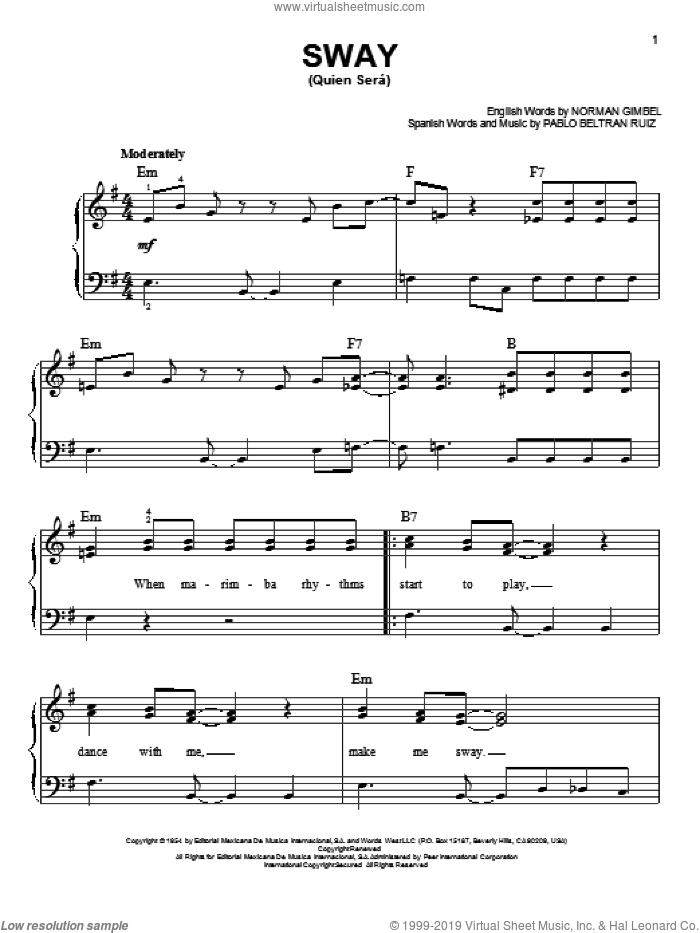 Sway (Quien Sera) sheet music for piano solo by Glee Cast, Dean Martin, Miscellaneous, Norman Gimbel and Pablo Beltran Ruiz, easy skill level