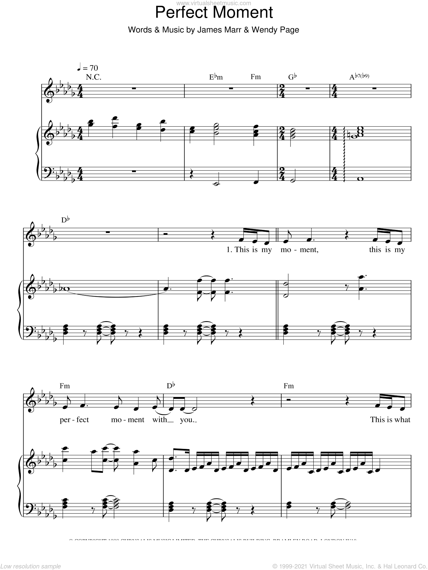 Perfect Moment sheet music for voice and piano by Martine McCutcheon, wedding score, intermediate. Score Image Preview.