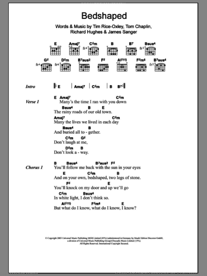 Bedshaped sheet music for guitar (chords) by Tim Rice-Oxley, James Sanger, Richard Hughes and Tom Chaplin, intermediate. Score Image Preview.