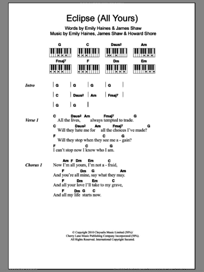 Eclipse (All Yours) sheet music for piano solo (chords, lyrics, melody) by Metric, Emily Haines, Howard Shore and James Shaw, intermediate piano (chords, lyrics, melody)