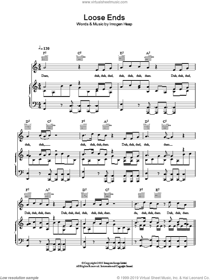 Loose Ends sheet music for voice, piano or guitar by Imogen Heap. Score Image Preview.