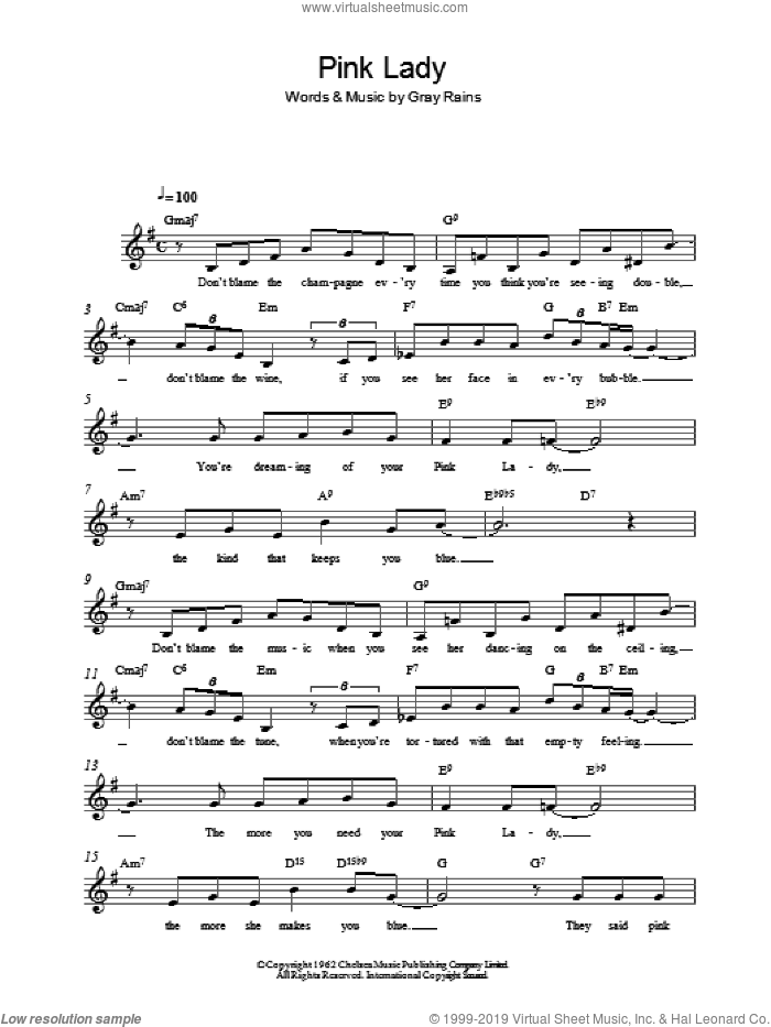 Pink Lady sheet music for voice and other instruments (fake book) by Gray Rains, intermediate skill level
