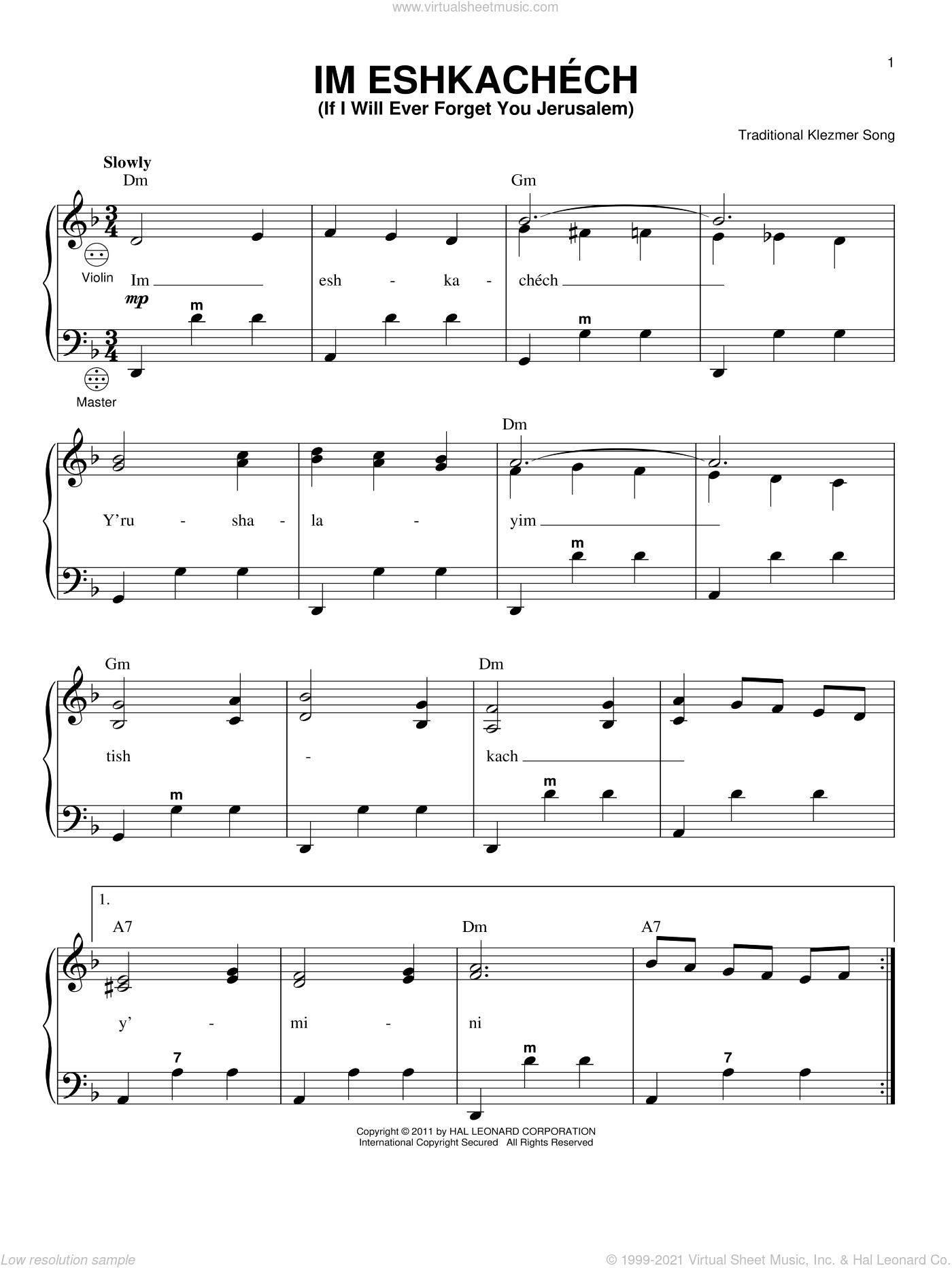 Im Eshkachech (If I Will Ever Forget You Jerusalem) sheet music for accordion by Traditional Klezmer Song, intermediate skill level
