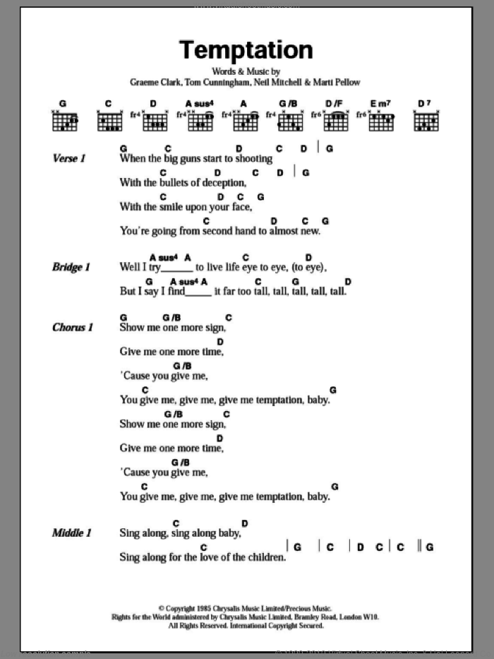 Temptation sheet music for guitar (chords) by Wet Wet Wet, Graeme Clark, Marti Pellow, Neil Mitchell and Tom Cunningham, intermediate skill level