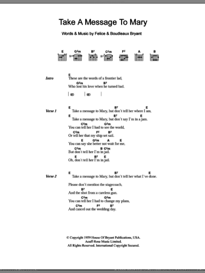 Take A Message To Mary sheet music for guitar (chords) by Felice Bryant, Everly Brothers and Boudleaux Bryant. Score Image Preview.