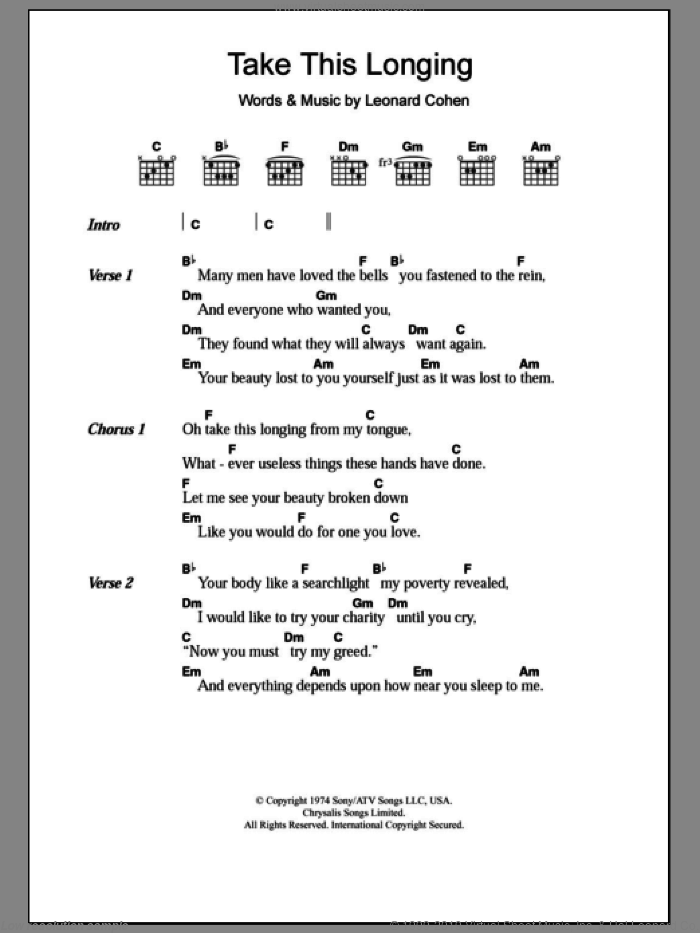 Take This Longing sheet music for guitar (chords) by Leonard Cohen. Score Image Preview.