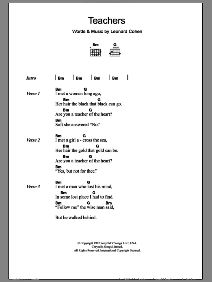 Teachers sheet music for guitar (chords) by Leonard Cohen. Score Image Preview.