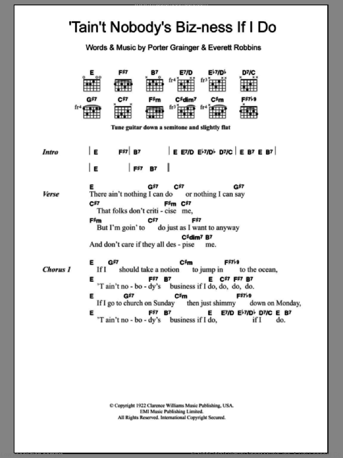 Tain't Nobody's Biz-Ness If I Do sheet music for guitar (chords) by Bessie Smith and Porter Grainger. Score Image Preview.