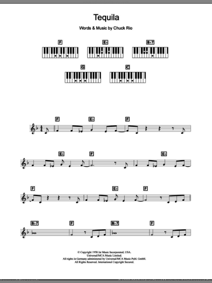 Tequila sheet music for piano solo (chords, lyrics, melody) by The Champs, intermediate piano (chords, lyrics, melody). Score Image Preview.
