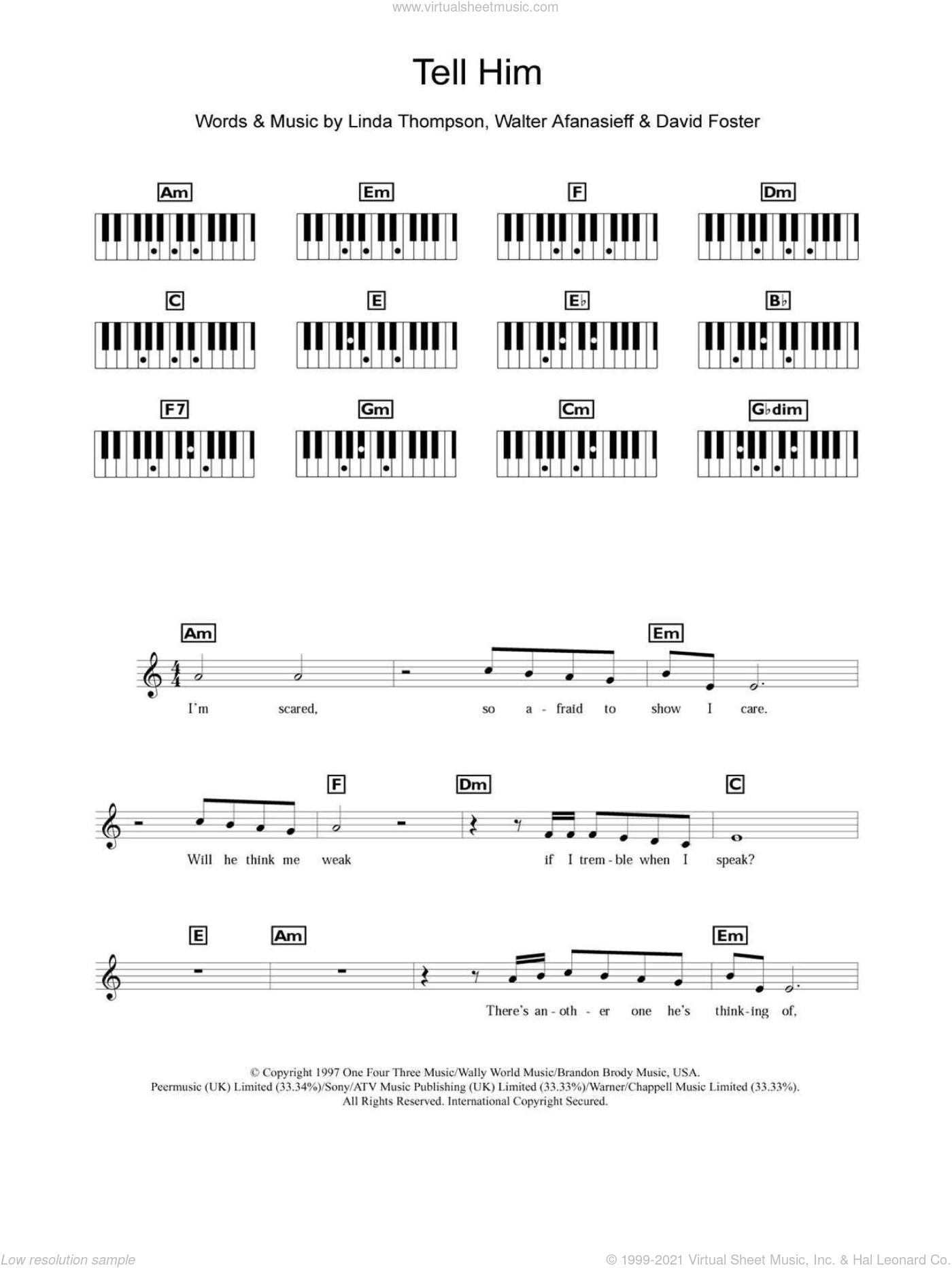 Tell Him sheet music for piano solo (chords, lyrics, melody) by Celine Dion, David Foster, Linda Thompson and Walter Afanasieff. Score Image Preview.