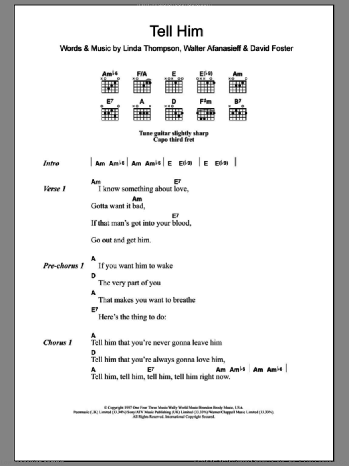 Tell Him sheet music for guitar (chords) by Walter Afanasieff, Celine Dion, David Foster and Linda Thompson. Score Image Preview.
