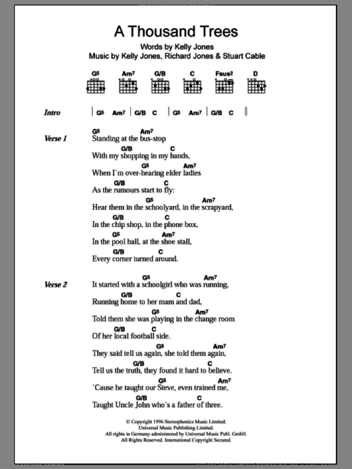 A Thousand Trees sheet music for guitar (chords) by Stuart Cable