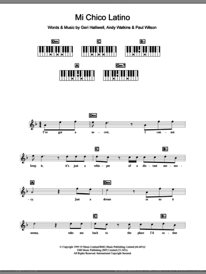 Mi Chico Latino sheet music for piano solo (chords, lyrics, melody) by Geri Halliwell, intermediate piano (chords, lyrics, melody). Score Image Preview.