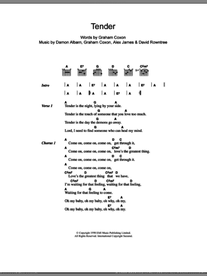 Tender sheet music for guitar (chords) by Graham Coxon, Blur, Alex James and Damon Albarn. Score Image Preview.