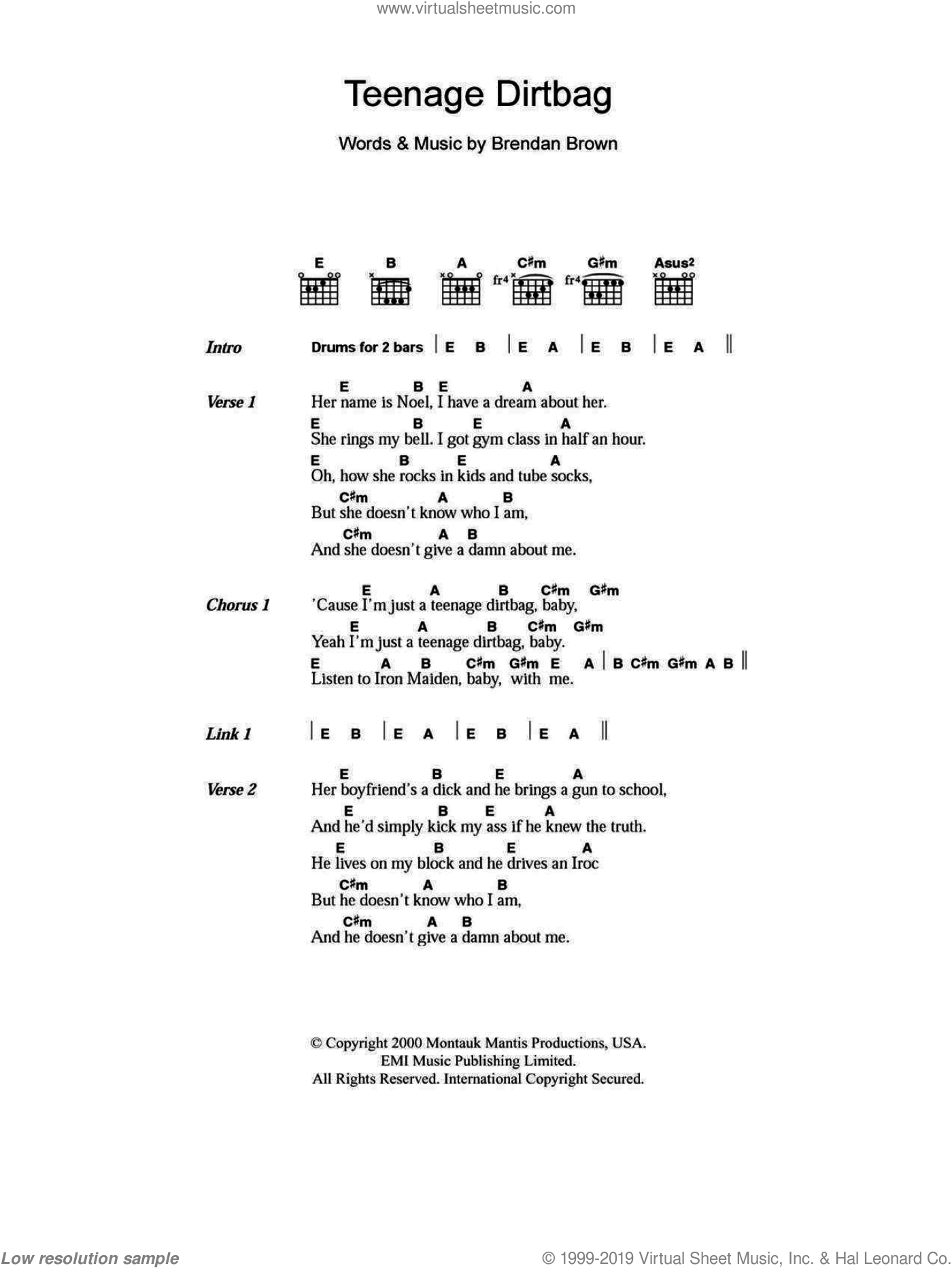 Wheatus - Teenage Dirtbag sheet music for guitar (chords) [PDF]