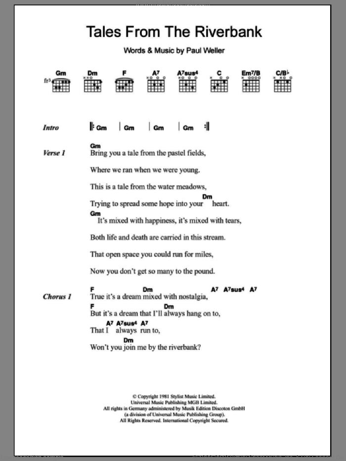 Tales From The Riverbank sheet music for guitar (chords) by The Jam and Paul Weller, intermediate skill level