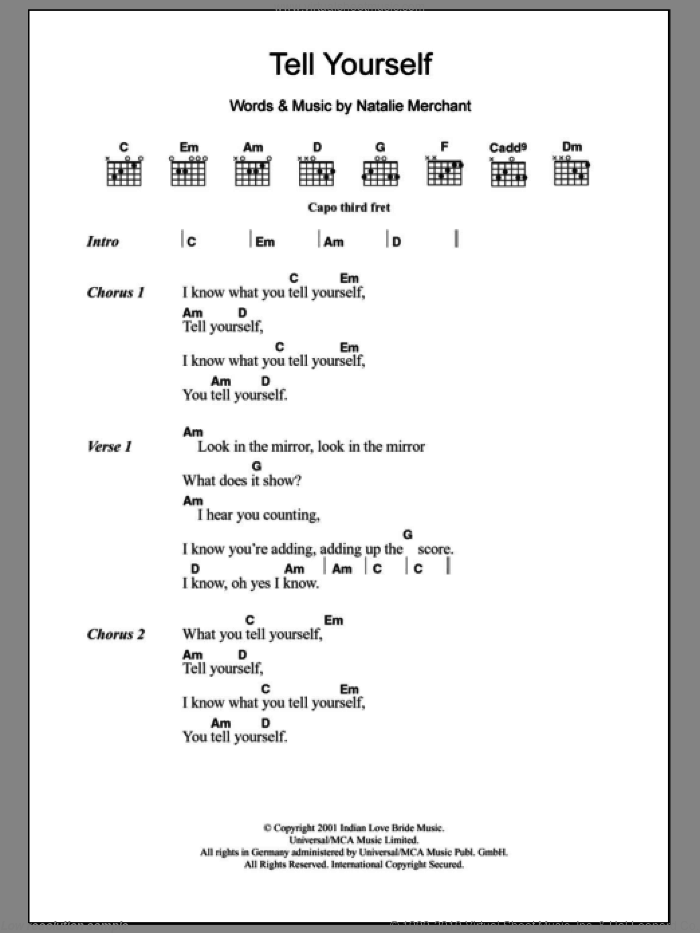 Tell Yourself sheet music for guitar (chords) by Natalie Merchant. Score Image Preview.