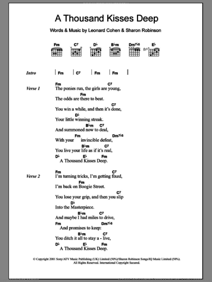 A Thousand Kisses Deep sheet music for guitar (chords) by Leonard Cohen and Sharon Robinson, intermediate skill level