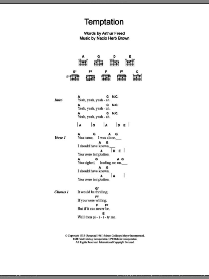 Temptation sheet music for guitar (chords) by Everly Brothers, Arthur Freed and Nacio Herb Brown, intermediate. Score Image Preview.