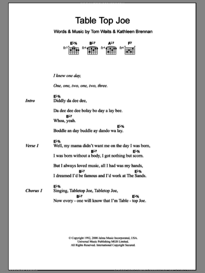 Table Top Joe sheet music for guitar (chords) by Tom Waits, intermediate guitar (chords). Score Image Preview.