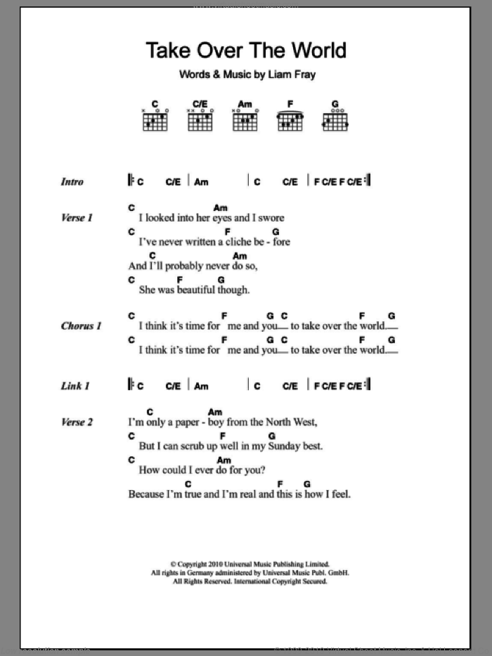 Take Over The World sheet music for guitar (chords) by Liam Fray. Score Image Preview.