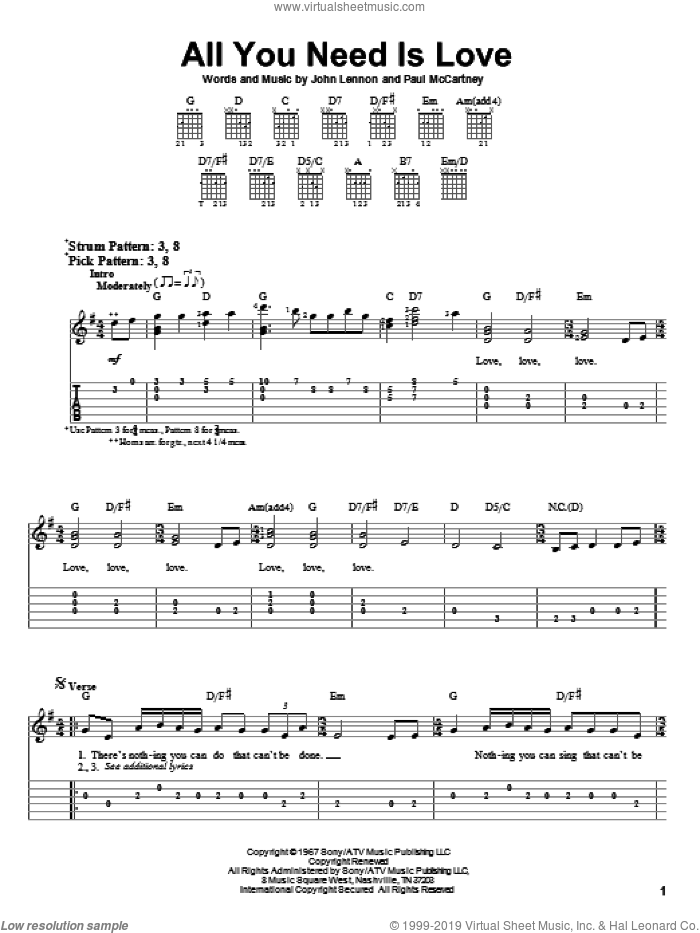 All You Need Is Love sheet music for guitar solo (easy tablature) by The Beatles, John Lennon and Paul McCartney, easy guitar (easy tablature)
