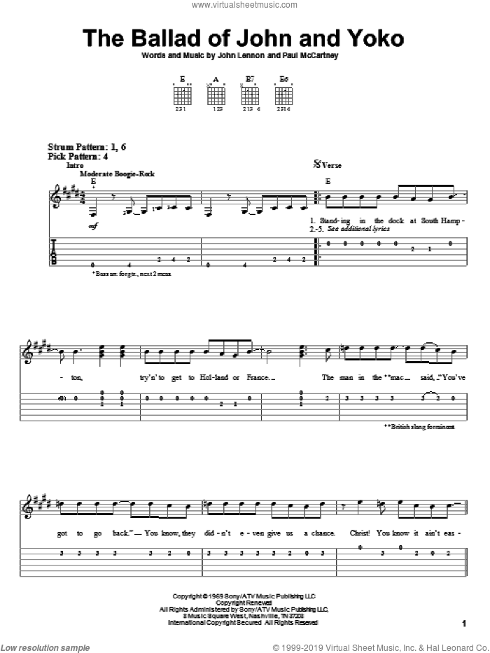 The Ballad Of John And Yoko sheet music for guitar solo (easy tablature) by The Beatles, John Lennon and Paul McCartney, easy guitar (easy tablature)