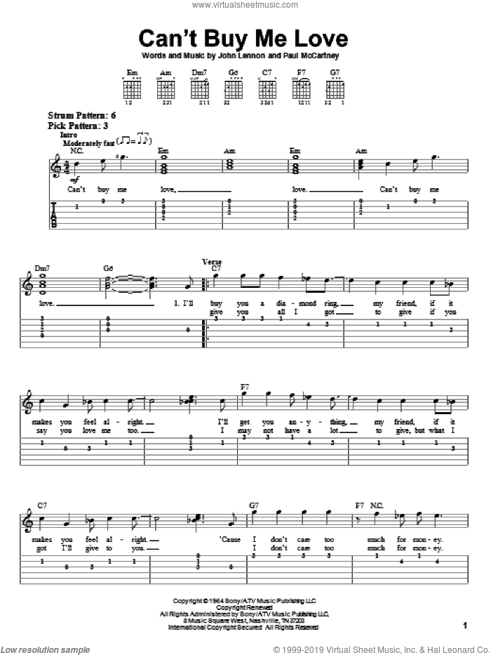 Can't Buy Me Love sheet music for guitar solo (easy tablature) by Paul McCartney, The Beatles and John Lennon. Score Image Preview.