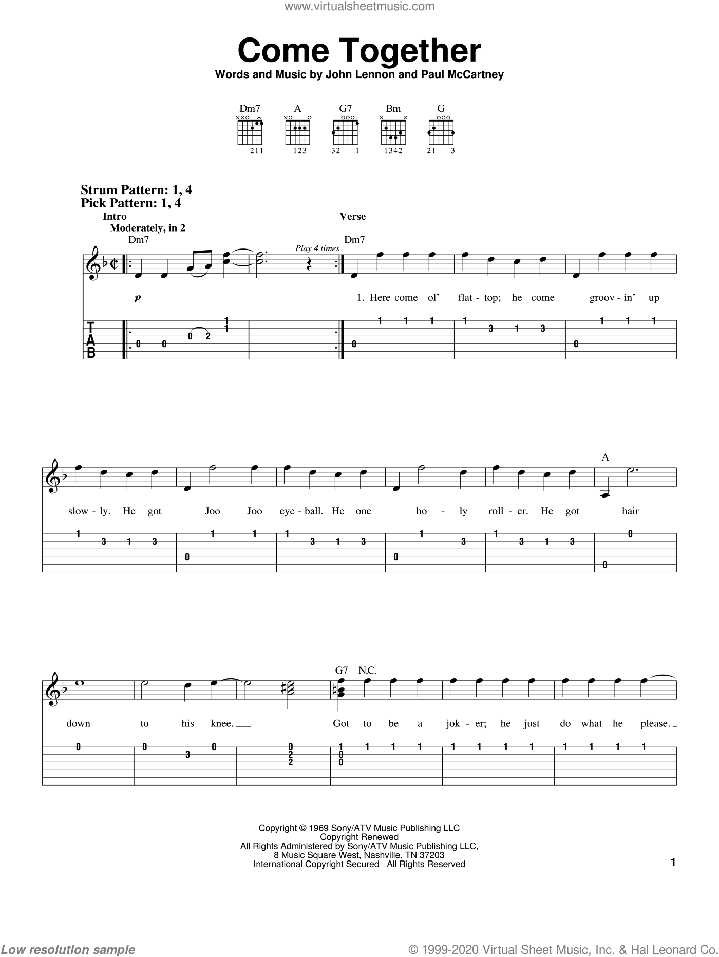 Come Together sheet music for guitar solo (easy tablature) by The Beatles, John Lennon and Paul McCartney, easy guitar (easy tablature)