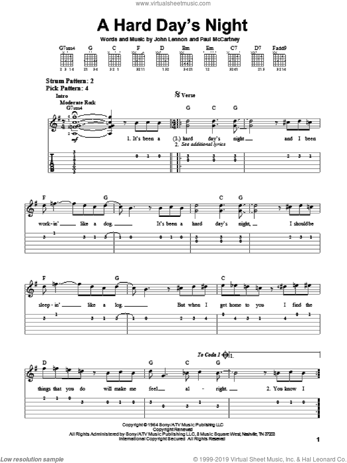A Hard Day's Night sheet music for guitar solo (easy tablature) by Paul McCartney, The Beatles and John Lennon