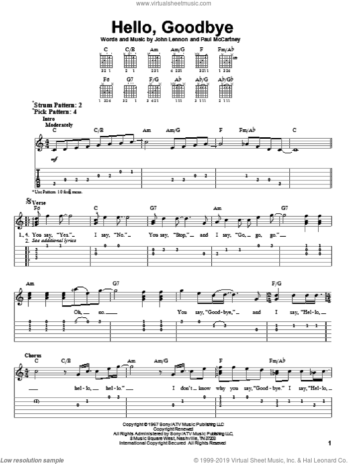 Hello, Goodbye sheet music for guitar solo (easy tablature) by Paul McCartney