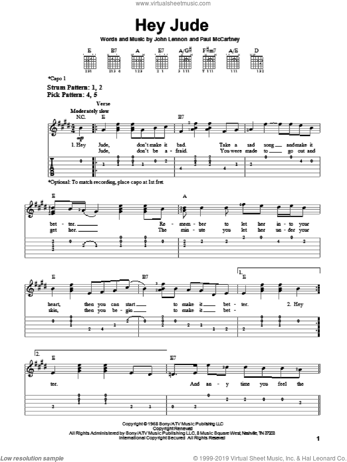 Hey Jude sheet music for guitar solo (easy tablature) by The Beatles, John Lennon and Paul McCartney, easy guitar (easy tablature). Score Image Preview.