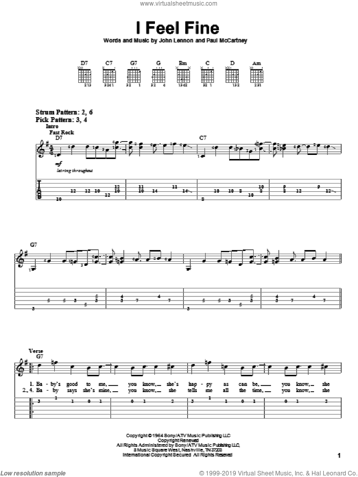 I Feel Fine sheet music for guitar solo (easy tablature) by The Beatles, John Lennon and Paul McCartney, easy guitar (easy tablature)