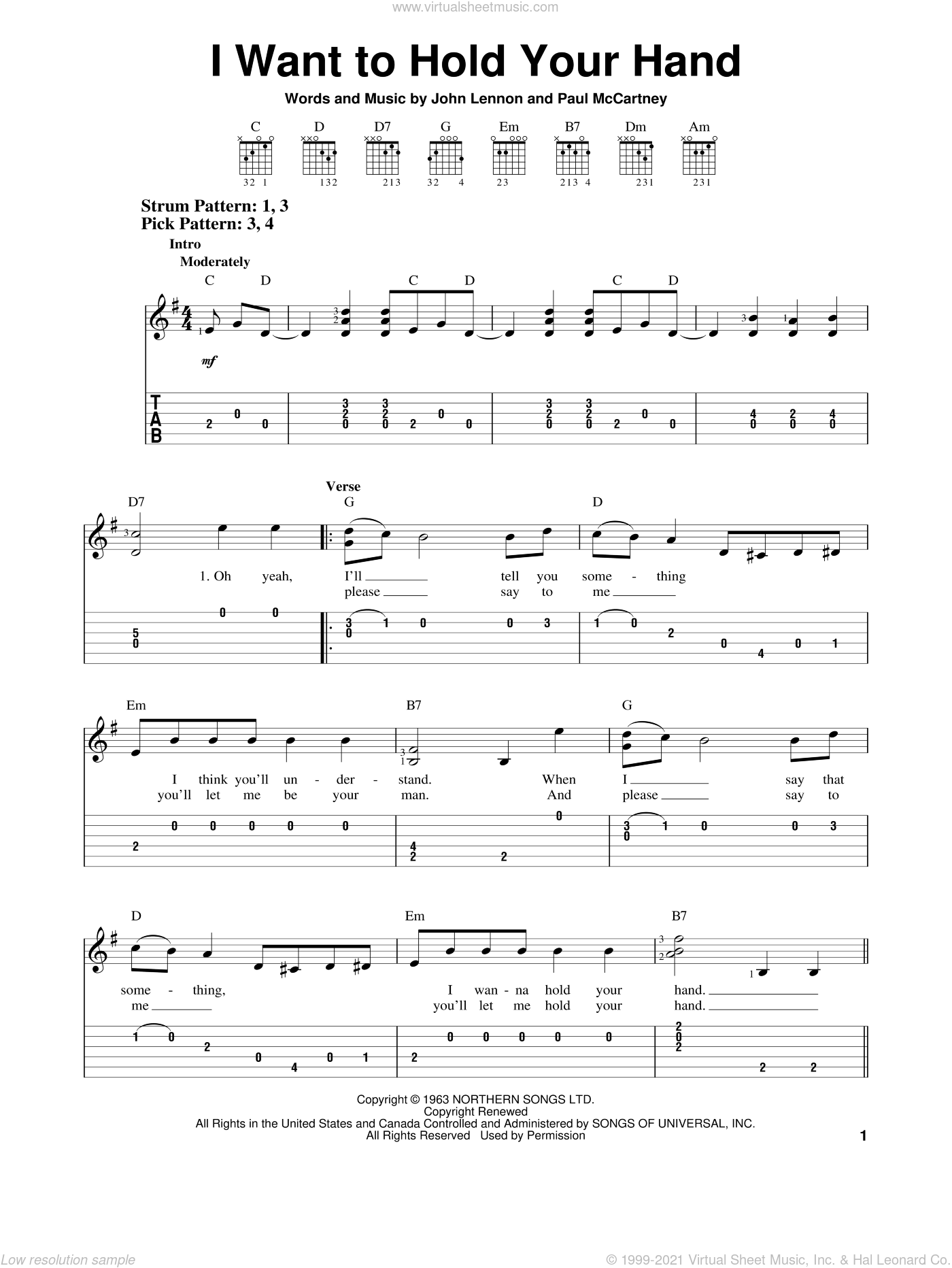 I Want To Hold Your Hand sheet music for guitar solo (easy tablature) by The Beatles, John Lennon and Paul McCartney, easy guitar (easy tablature). Score Image Preview.