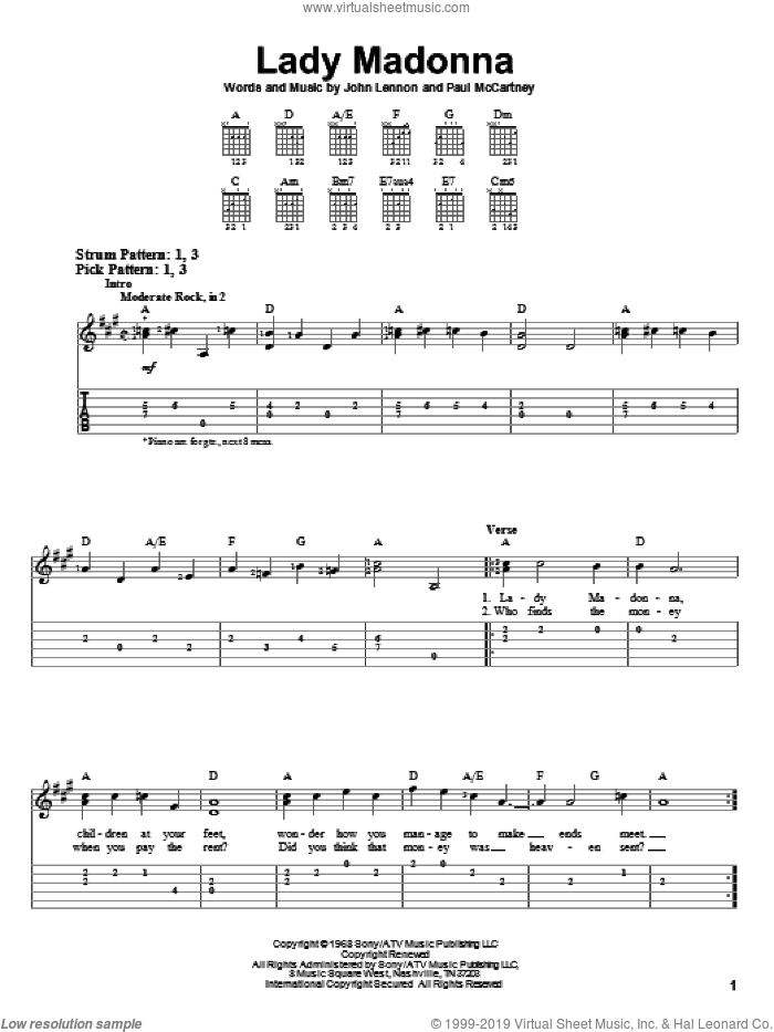 Lady Madonna sheet music for guitar solo (easy tablature) by Paul McCartney, The Beatles and John Lennon. Score Image Preview.
