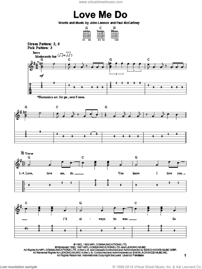 Love Me Do sheet music for guitar solo (easy tablature) by Paul McCartney, The Beatles and John Lennon. Score Image Preview.