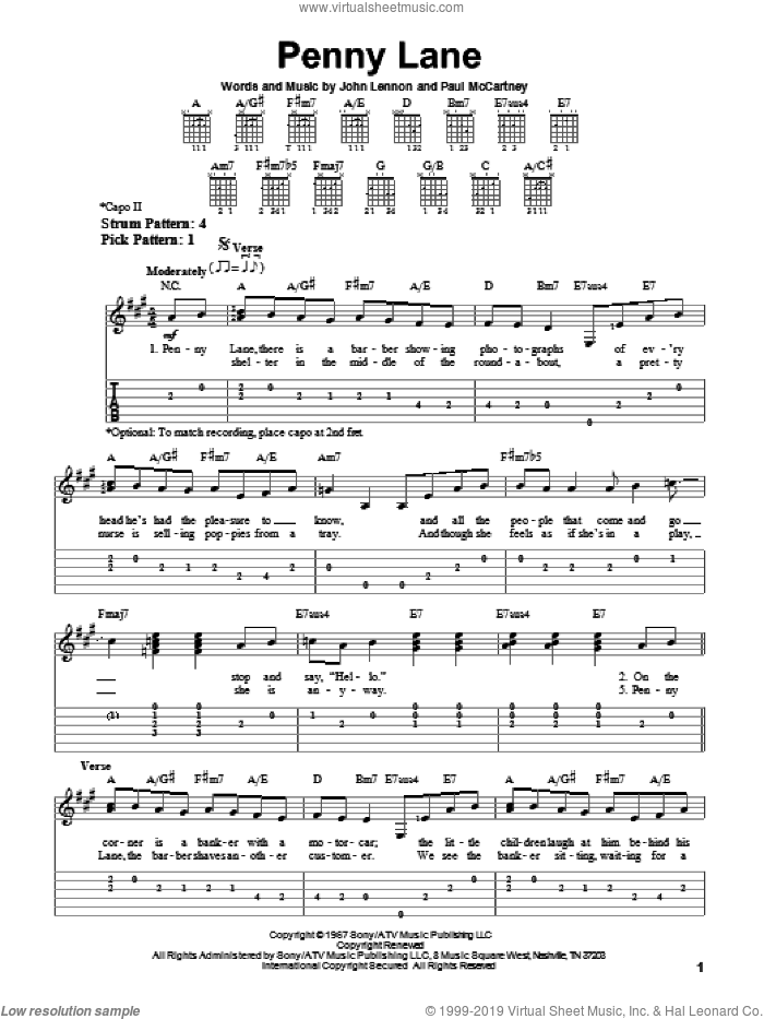Penny Lane sheet music for guitar solo (easy tablature) by The Beatles, John Lennon and Paul McCartney, easy guitar (easy tablature)