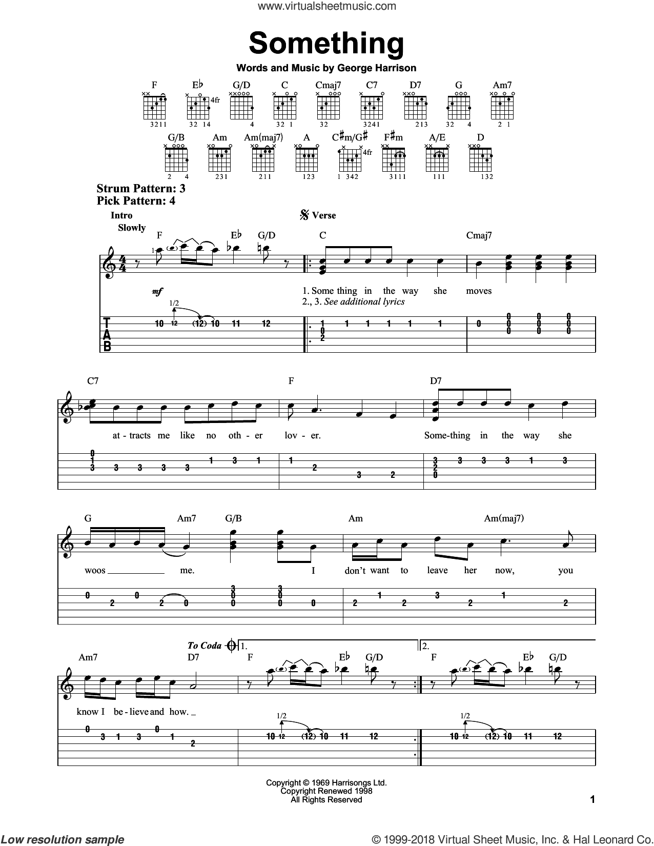 Something sheet music for guitar solo (easy tablature) by George Harrison