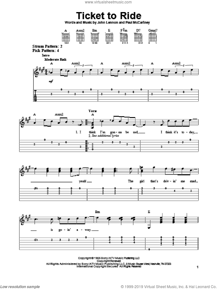 Ticket To Ride sheet music for guitar solo (easy tablature) by The Beatles, John Lennon and Paul McCartney. Score Image Preview.