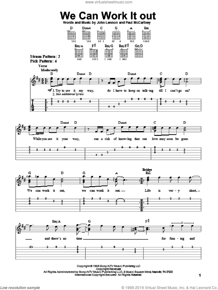 We Can Work It Out sheet music for guitar solo (easy tablature) by Paul McCartney, The Beatles and John Lennon. Score Image Preview.