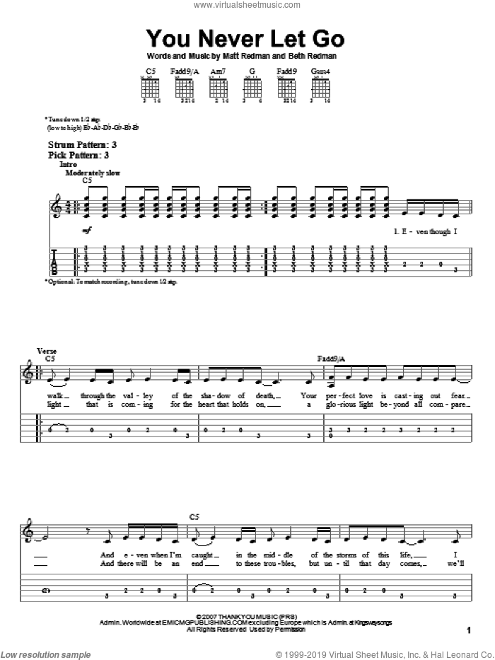 You Never Let Go sheet music for guitar solo (easy tablature) by Matt Redman and Beth Redman, easy guitar (easy tablature)